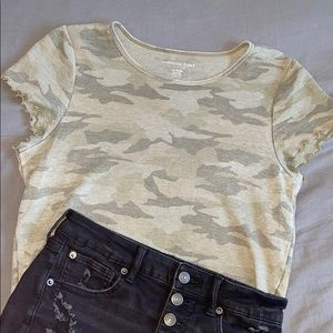 3 for $20 American Eagle cropped camo t-shirt.